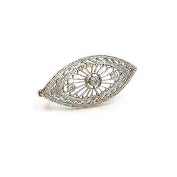 ART DECO 14K YELLOW GOLD RHODIUM FILIGREE .22 CTW OLD EURO DIAMOND PIN #973B-6