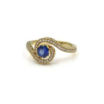 BEAUTIFUL 18K SOLID GOLD DIADORI SAPPHIRE & DIAMOND SWIRL HALO RING 6.5 #1036B-4