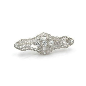 EDWARDIAN PLATINUM & WHITE GOLD PIN PENDANT W/ EUROPEAN DIAMONDS 1.09 CTW J899-2