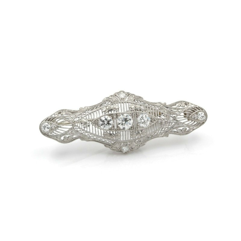 National Rarities EDWARDIAN PLATINUM & WHITE GOLD PIN PENDANT W/ EUROPEAN DIAMONDS 1.09 CTW J899-2