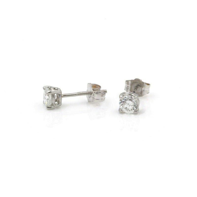 National Rarities 14K WHITE GOLD 0.70 CTW ROUND CUT DIAMOND BRILLIANT STUD EARRINGS #J2454-2