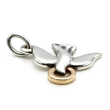 JAMES AVERY 18K GOLD & STERLING SILVER DOVE CHARM PENDANT NR# 1018B-5