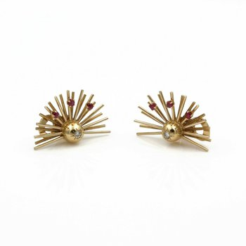 *ESTATE JEWELRY* PAIR OF 14K YELLOW GOLD DIAMOND & RUBY EARRINGS NR #E-253