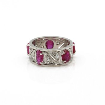PLATINUM CARVED RUBY SCARAB ROUND DIAMOND ETERNITY BAND VINTAGE UNIQUE #8025-1