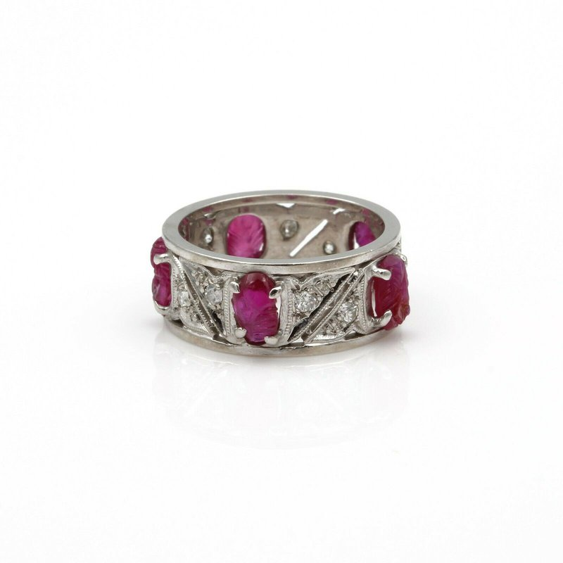 National Rarities PLATINUM CARVED RUBY SCARAB ROUND DIAMOND ETERNITY BAND VINTAGE UNIQUE #8025-1