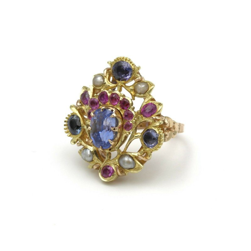Ruby VINTAGE 14K TWO TONE GOLD SAPPHIRE RUBY & BAROQUE PEARL COCKTAIL RING #979B-4