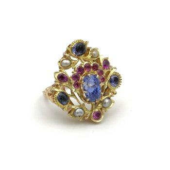 VINTAGE 14K TWO TONE GOLD SAPPHIRE RUBY & BAROQUE PEARL COCKTAIL RING #979B-4