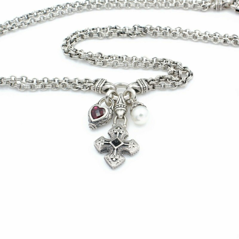 National Rarities SCOTT KAY STERLING SILVER PEARL ONYX RHODOLITE CHARM NECKLACE #D15-6
