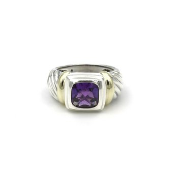 DAVID YURMAN 2 CT AMETHYST STERLING SILVER & 14K YELLOW GOLD CABLE RING #981B-3