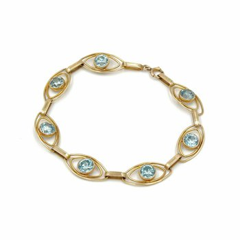 "RETRO 10K YELLOW GOLD 7.6 CTW ROUND BLUE ZIRCON ELLIPSE BRACELET 7"" #973B-8"