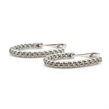 14K WHITE GOLD ROUND DIAMOND INSIDE OUT OBLONG HOOP EARRINGS 1.20 CTW #1101B-9
