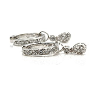 14K WHITE GOLD VINTAGE 0.30 CTW DIAMOND HUGGIE DANGLE EARRINGS #1014B-3
