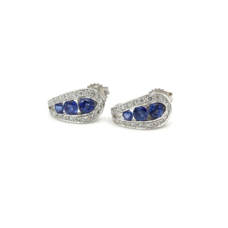 National Rarities CHIC BLUE SAPPHIRE AND DIAMOND 14K WHITE GOLD HALF HOOP EARRINGS, 2.12 CTW E-81