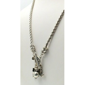 "BEAUTIFUL BRIGHTON SILVER CHARM TOGGLE 19"" WHEAT CHAIN NECKLACE #761B-1"