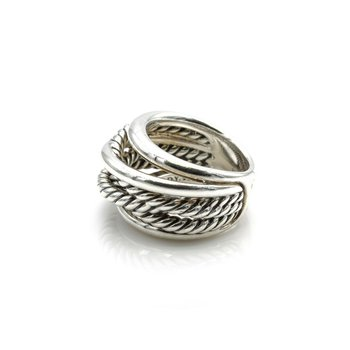 DAVID YURMAN STERLING SILVER CROSSOVER CABLE 6 ROW 14.5 MM RING SIZE 5 #1106B-9