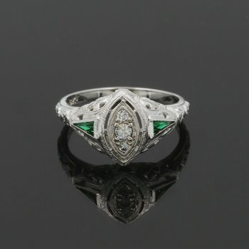 EDWARDIAN DIAMOND RING GEOMETRIC GREEN STONES ENGRAVED CROSS FILIGREE NR 987B-7