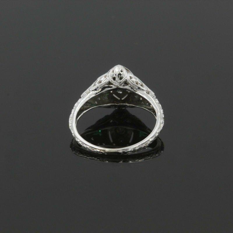 National Rarities EDWARDIAN DIAMOND RING GEOMETRIC GREEN STONES ENGRAVED CROSS FILIGREE NR 987B-7