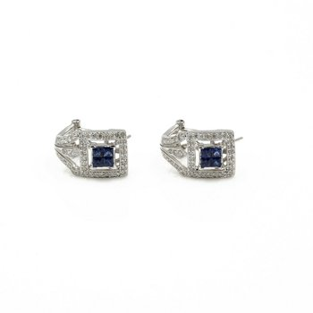 18K WHITE GOLD ART DECO 1.67 CTW SAPPHIRE & DIAMOND J HOOP EARRINGS #1001B-8