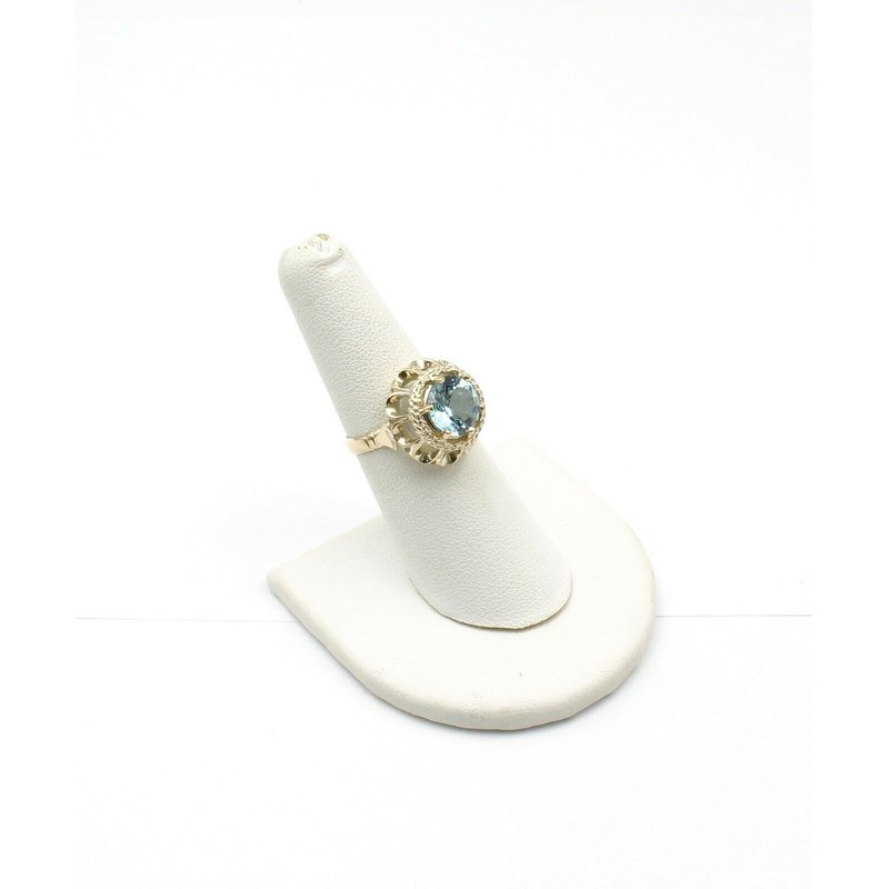 National Rarities 14K YELLOW GOLD 3.25 CT ROUND SKY BLUE TOPAZ SCALLOPED HALO RING SIZE 6 #JB31-3