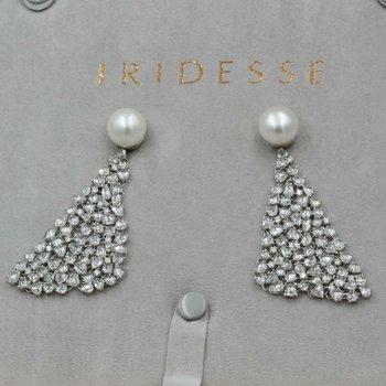 IRIDESSE TIFFANY & CO 18K W. GOLD 24.5CTW ROSE DIAMONDS PEARL MESH DROP EARRINGS