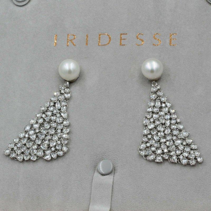 Iridesse Inc IRIDESSE TIFFANY & CO 18K W. GOLD 24.5CTW ROSE DIAMONDS PEARL MESH DROP EARRINGS