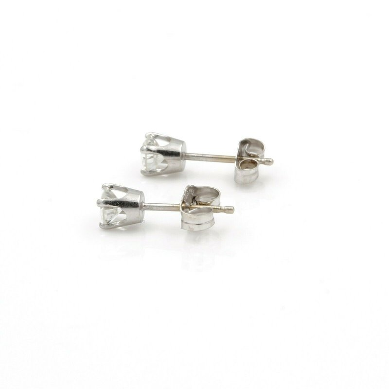 National Rarities 14K WHITE GOLD FOUR PRONG ROUND BRILLIANT DIAMOND STUD EARRINGS 0.45CTW #JB61-3