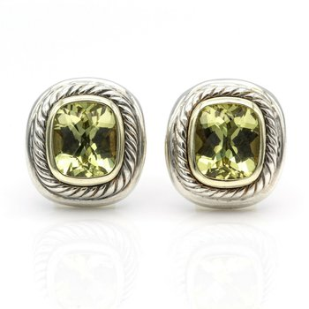 DAVID YURMAN LEMON QUARTZ ALBION CLIP EARRINGS STERLING SILVER 14K GOLD #1017B-8