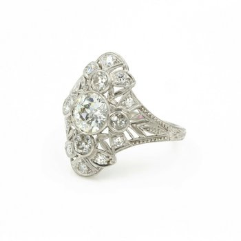VINTAGE PLATINUM EUROPEAN CUT DIAMOND 2.17 CTW FILIGREE RING SIZE 7 #E-38