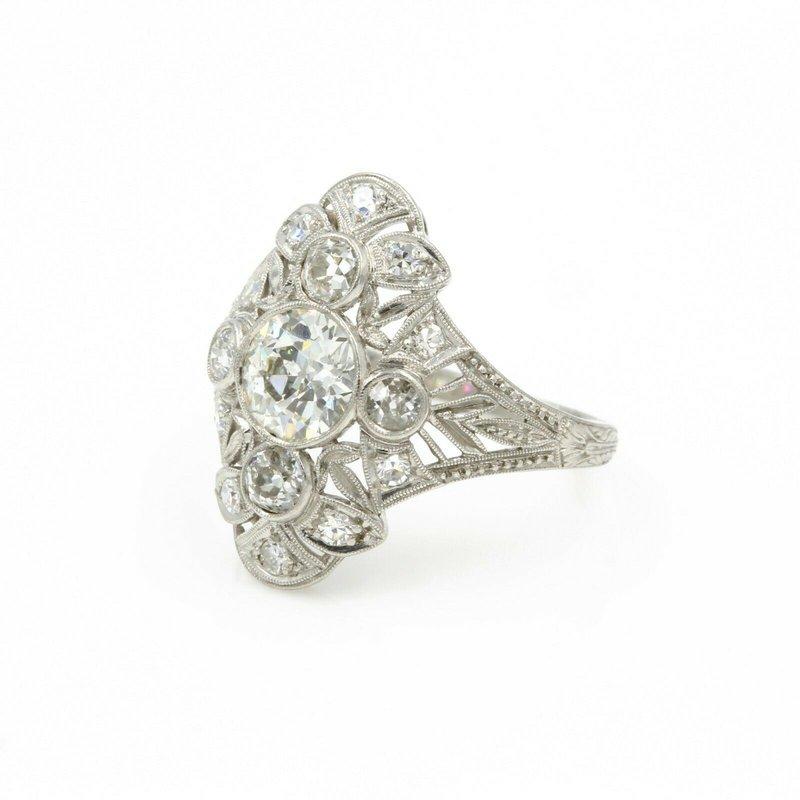 National Rarities VINTAGE PLATINUM EUROPEAN CUT DIAMOND 2.17 CTW FILIGREE RING SIZE 7 #E-38