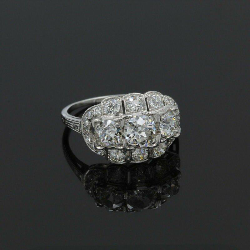 National Rarities EDWARDIAN PLATINUM 2.71 CTW OLD EURO CUT DIAMOND CLUSTER RING SIZE 7.25 #999B-10