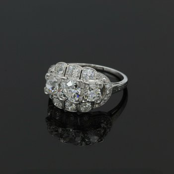 EDWARDIAN PLATINUM 2.71 CTW OLD EURO CUT DIAMOND CLUSTER RING SIZE 7.25 #999B-10