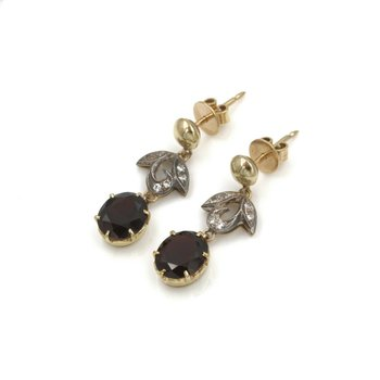EDWARDIAN 14K & STERLING 5.72 CTW GARNET & DIAMOND DROP/DANGLE EARRINGS #990B-8