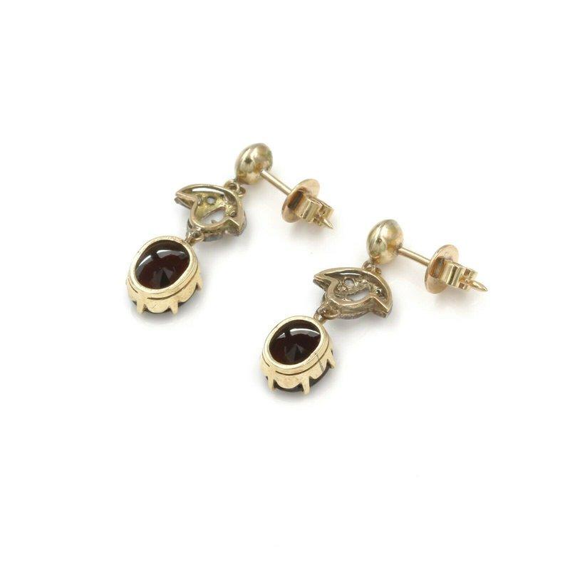 National Rarities EDWARDIAN 14K & STERLING 5.72 CTW GARNET & DIAMOND DROP/DANGLE EARRINGS #990B-8