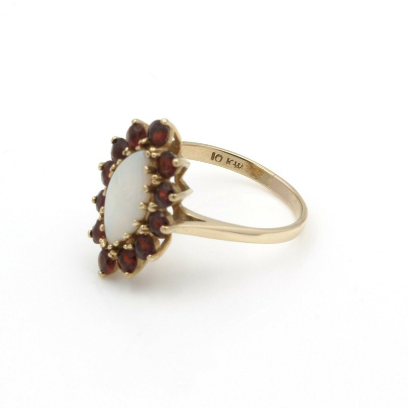 Unbranded 10K YELLOW GOLD OPAL MARQUISE CABOCHON AND GARNET COCKTAIL RING SIZE 7.75 #J5-3