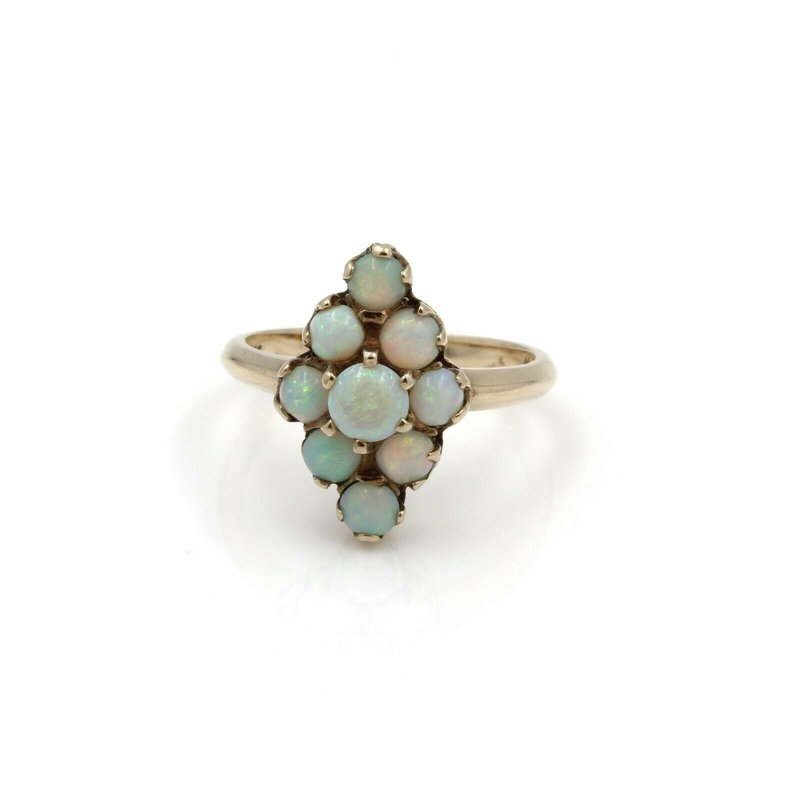 Antique ANTIQUE VICTORIAN 10K YELLOW GOLD CABOCHON OPAL CLUSTER RING SIZE 6.50 #JB61-4