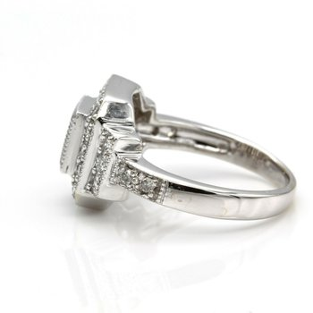 14K WHITE GOLD VINTAGE STYLE DIAMOND RING INVISIBLE CENTER MIL-GRAIN 1033B-6