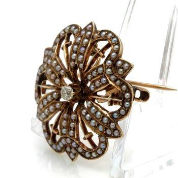 ANTIQUE VICTORIAN 10K YELLOW GOLD OLD MINE DIAMOND PEARL PENDANT/BROOCH #JB63-5
