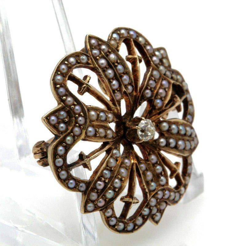National Rarities ANTIQUE VICTORIAN 10K YELLOW GOLD OLD MINE DIAMOND PEARL PENDANT/BROOCH #JB63-5