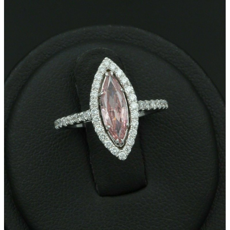 National Rarities 18K WHITE GOLD 1.32 CTW PINK MARQUISE DIAMOND WHITE DIAMOND HALO RING NICE #E-88