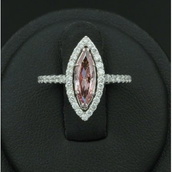 18K WHITE GOLD 1.32 CTW PINK MARQUISE DIAMOND WHITE DIAMOND HALO RING NICE #E-88