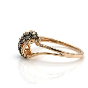 LEVIAN 14K ROSE GOLD CHOCOLATE AND VANILLA DIAMOND COCKTAIL RING SIZE 7 #D7-2