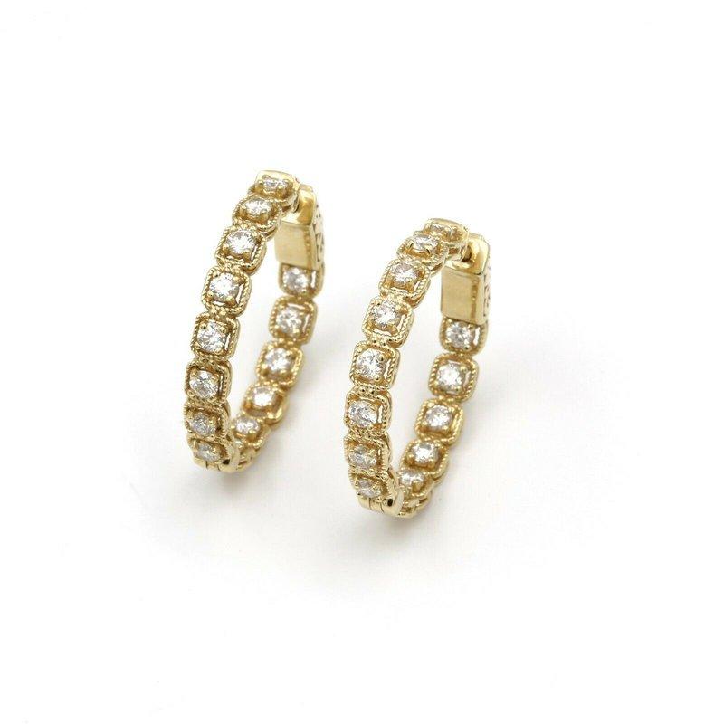National Rarities STUNNING 14K SOLID GOLD 2.00 CTW DIAMOND ILLUSION HOOP EARRINGS #831B-4