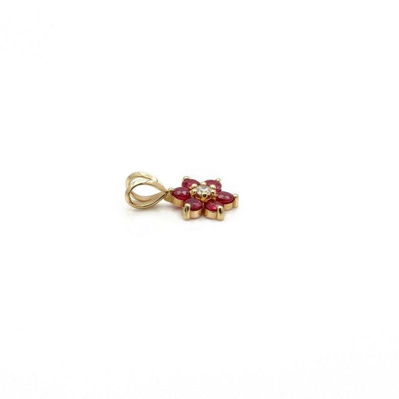 National Rarities VINTAGE 14K YELLOW GOLD BRILLIANT ROUND 0.07 CT DIAMOND AND RUBY PENDANT #JB63-4