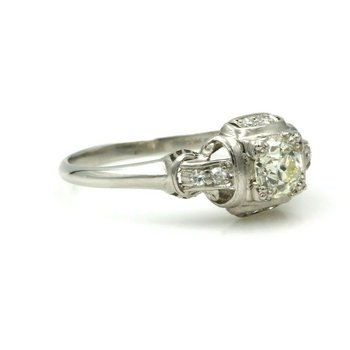 VINTAGE ART DECO PLATINUM .62 CTW OLD EUROPEAN CUT DIAMOND RING #E-60