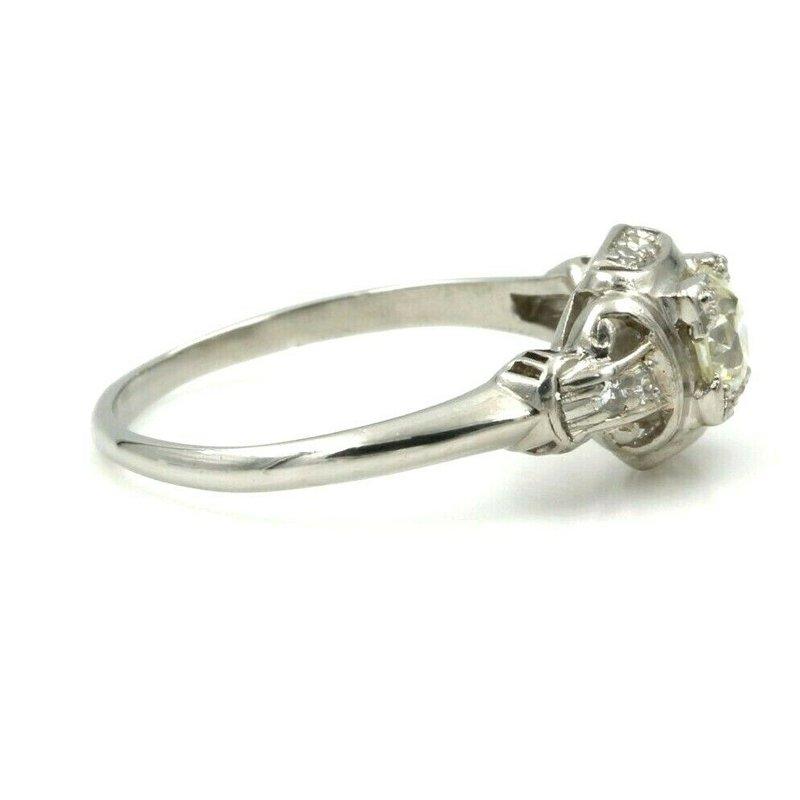 National Rarities VINTAGE ART DECO PLATINUM .62 CTW OLD EUROPEAN CUT DIAMOND RING #E-60