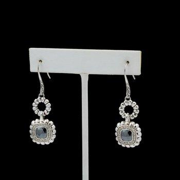 JOHN HARDY STERLING SILVER HEMATITE DIAMOND BATU BEDEG DANGLE EARRINGS D14-6