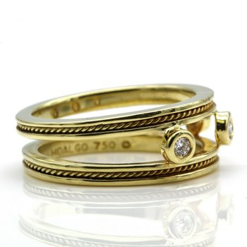 HIDALGO 18K SOLID GOLD 0.18 CTW DIAMOND OPEN BAND RING SIZE 6.75 #1027B-7