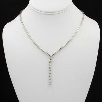 18K WHITE GOLD 1.58 CTW ROUND WHITE DIAMOND CONTEMPORARY DROP NECKLACE #E337