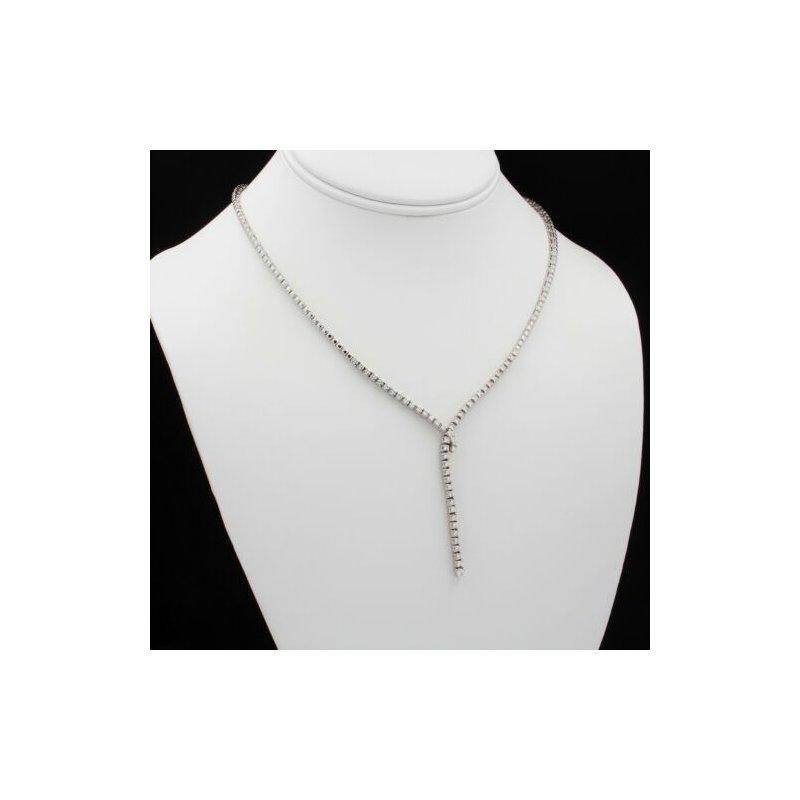 National Rarities 18K WHITE GOLD 1.58 CTW ROUND WHITE DIAMOND CONTEMPORARY DROP NECKLACE #E337