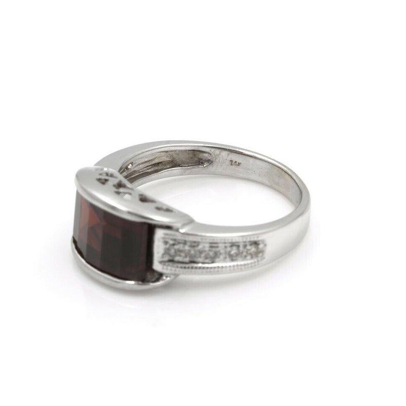 National Rarities MODERN WHITE GOLD BARREL CUT GARNET RING DIAMOND ACCENTS RING SIZE 5 #JB62-7